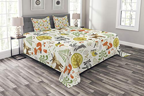 Lunarable Animals Coverlet Set Queen Size, Woodland Forest Animals Trees Birds Owls Fox Bunny Deer Raccoon Mushroom Print, Decorative Quilted 3 Piece Bedspread Set with 2 Pillow Shams, Multicolor ()