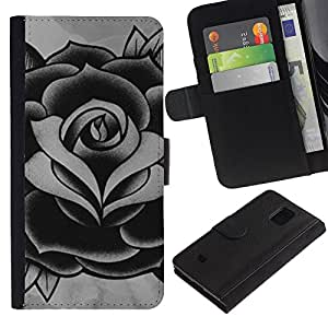 KLONGSHOP / Tirón de la caja Cartera de cuero con ranuras para tarjetas - White Grey Ink Tattoo Petal - Samsung Galaxy S5 Mini, SM-G800, NOT S5 REGULAR!