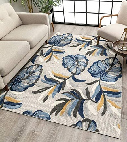 Well Woven Moira Floral Blue Indoor/Outdoor Area Rug 8×11 7'10″ x 9'10″ High Traffic Stain Resistant Modern Carpet
