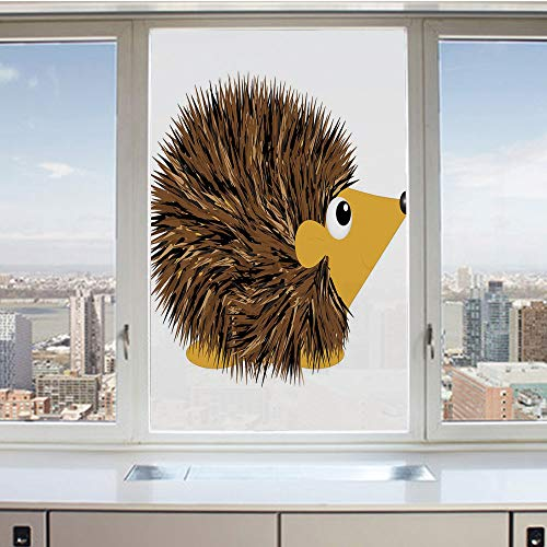 3D Decorative Privacy Window Films,Cartoon Animal with a Happy Smile on Its Face Hedgehog Illustration Spikes Decorative,No-Glue Self Static Cling Glass film for Home Bedroom Bathroom Kitchen Office 2