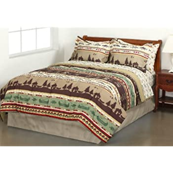 Amazon Com Fishing Cabin Lodge Canoe Queen Comforter
