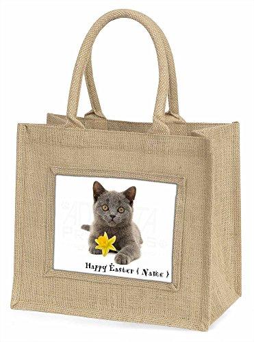 Advanta Kätzchen personalisiert Name Große Einkaufstasche/Weihnachten Geschenk, Jute, beige/natur, 42x 34,5x 2cm