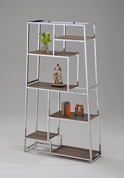 6 Tier Chrome And Reclaimed Wood Look Bookshelf Bookcase 70quot