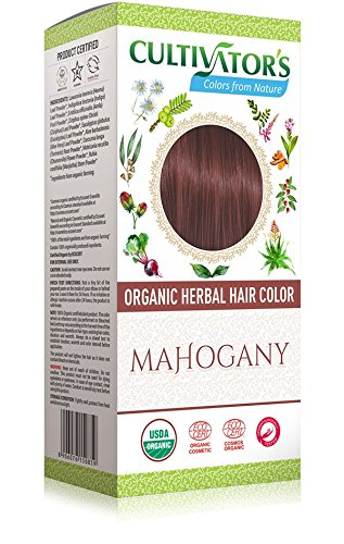 CULTIVATOR'S - Organic Herbal Hair Color - Mahogany - Herbal Blend for Hair Dye and Care - Covers White Hair - No PDD and Harmful Ingredients USDA and Ecocert Certified - Dermatologically tested 100gr ()