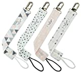 Pacifier Clip for Girls by Matimati Baby - 4 Pack - Modern Designs - Great Pacifier /Teething Ring Holder (Blush Arrow Set)