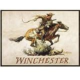 Rockin W Brand Winchester Horse and Rider Area Rug, Multi-Color
