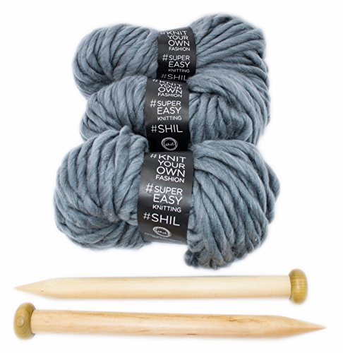 Chunky Knit Blanket DIY Kit, Super Soft Thick Yarn, Large Wood Knitting Needles (Charcoal Grey) by Rising Phoenix Industries (Image #1)