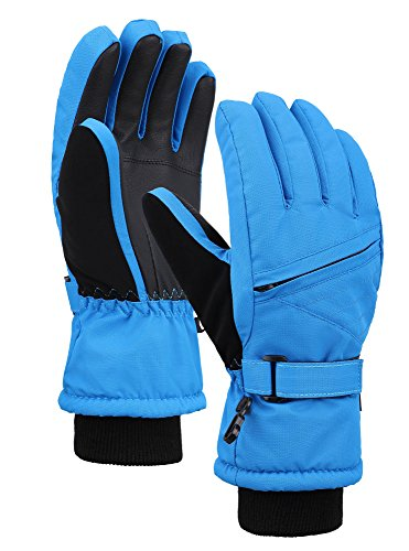 (Lullaby Kids Thinsulate Lining Zippered Snowboard Ski Gloves Royal M)