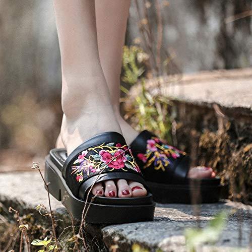 38 Étnico 40 Jia Para Verano Hong Zapatos black Cuero Black Y Muffins Moda Zapatillas Estilo Mujer Nuevos Usan De 6fqSUqaw