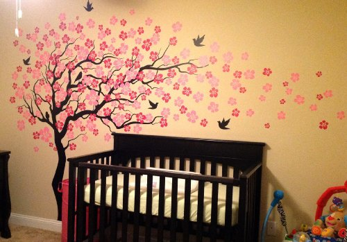 Pop Decors Removable Vinyl Art Wall Decals Mural, Cherry Blossom Tree/Dark Brown/Hot Pink by Pop Decors (Image #3)