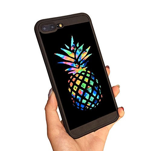 iPhone 7 Plus Cases,iPhone 8 Plus Case,Pineapple Black Cases and Grip Cases Fashion Protective Shockproof Anti-Scratch Soft Bumper Silicone Black Case for iPhone 7/8 Plus 5.5inch