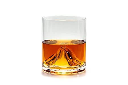 Mount Whiskey Old-Fashioned Tumbler Glass - Unique gift for Whiskey, Bourbon, Scotch lovers - Set of 2