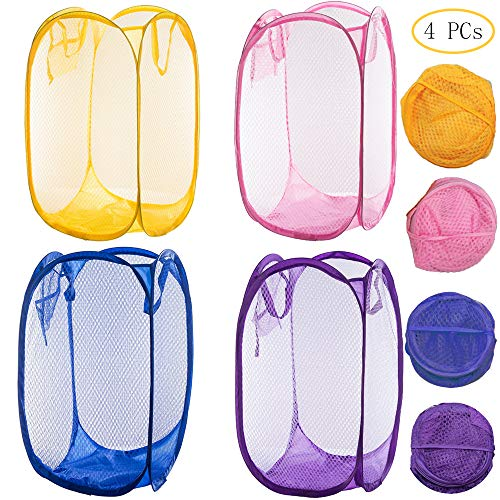 (Qtopun Mesh Popup Laundry Hamper Set of 4 Foldable Laundry Basket Portable Dirty Clothes Basket Collapsible Dirty Clothes Hamper for Bedroom, Kids Room, College Dormitory and)