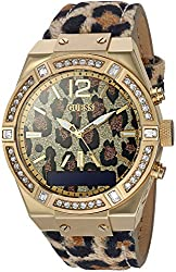 Guess Women's Connect Smartwatch With Amazon Alexa & Genuine Leather Strap Buckle - Ios & Android Compatible - Gold