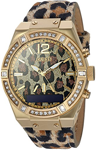GUESS Women's Stainless Steel Connect Smart Watch - Amazon Alexa, iOS and Android Compatible, Color: Leopard (Model: C0002M6)
