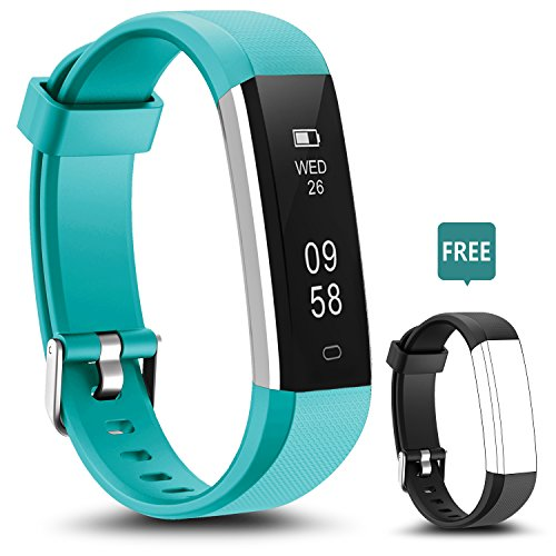 Fitness Tracker - LYOU U5 Activity Tracker: Fitness Watch Smart Bluetooth Wristband with Sleep Monitor and Black Replacement Strap for Android or iOS (Teal+black(strap))