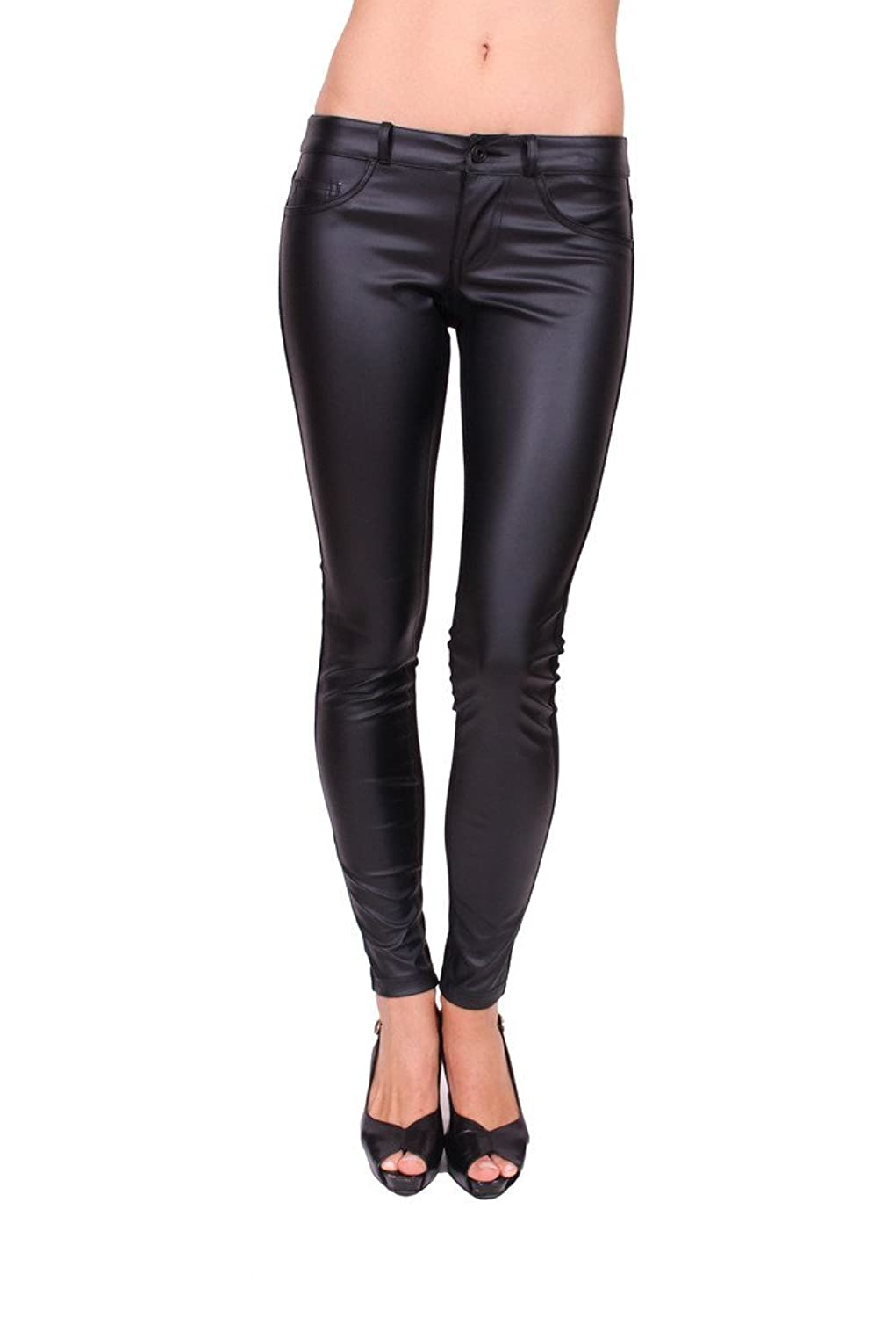 cheap Flying Monkey Jeans Women Black Faux Leather Skinny Ponte ...