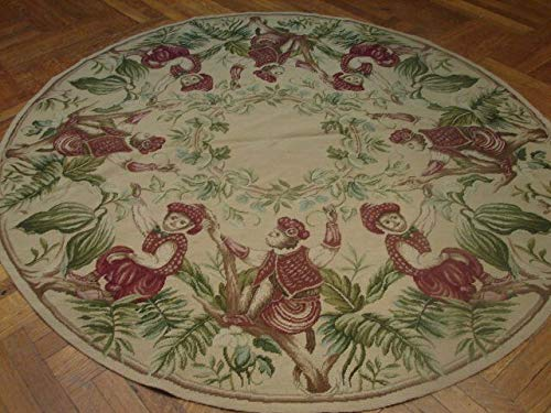 Round Needlepoint Hand-Woven 6x6 Beige Dressed Monkeys 16th century Rug