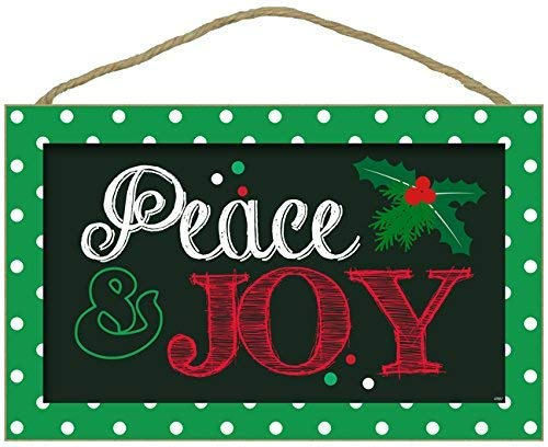 Christmas Sayings Signs Christian Wall Hanging Decor Inscribed Peace & Joy | Winter Signs Decor Christian Plaque Rustic Christmas Decorations for Home | Small Religious 10