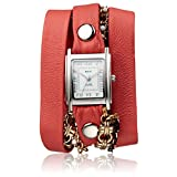 La Mer Collections Women's 'Multi Chain' Quartz Stainless Steel Case Back, Nickle Free Mixed Metal Alloy and Leather Watch, Color:Coral / Silver-Toned (Model: LAMERMULTI4509)