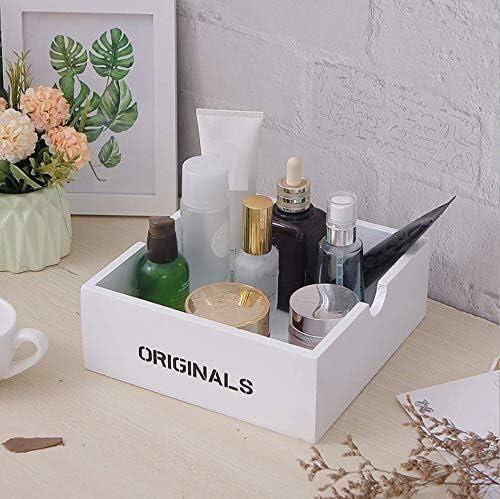 WXF Bandeja de Almacenamiento Maquillaje, Cosméticos de Madera Pequeña Caja Almacenamiento de La Piel Productos El Cuidado de Acabado Caja Blanca: Amazon.es: Hogar