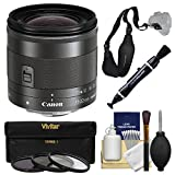 Canon EF-M 11-22mm f/4-5.6 is STM Zoom Lens with 3 Filters + Strap + Kit