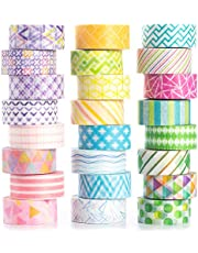 Yubbaex 24 Rolls Washi Tape Set Basic Skinny Masking Decorative Tapes for Arts, DIY Crafts, Bullet Journals, Planners, Scrapbooking, Wrapping