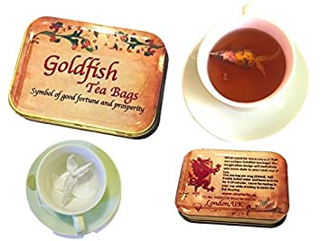 gift box 4 goldfish tea bag earl grey rose petals novelty tea set good luck