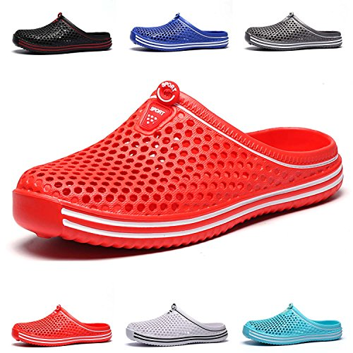 Garden Breathable Mule Water Women's Slippers Clogs Men's HMAIBO Sandals Shoes Footwear Red WB1Ofcq