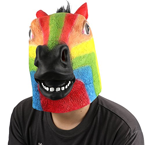 Popular 10 Year Old Halloween Costumes (Deluxe Novelty Halloween Costume Party Latex Animal Head Mask - Horse Head Rainbow)