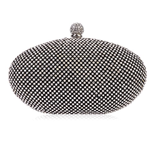 Damara Women Ellipse Hardcase Fully Crystal Wedding Evening Bag,Black (Bag Evening Pouch Metallic)