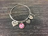 Personalized Mom Birthstone Charm Bangle Bracelet, Mothers Day Jewelry, Gift for Her