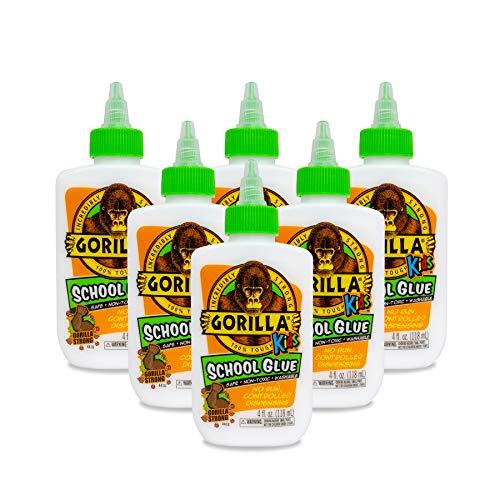 Gorilla Kids School Glue, 4 oz. Bottle, White, Pack of 6