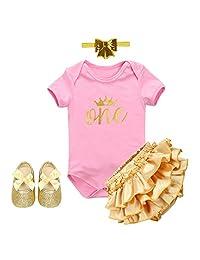 IBTOM CASTLE Baby Girls Crown 1st Birthday Costume Outfit Bodysuit Pants Dresses