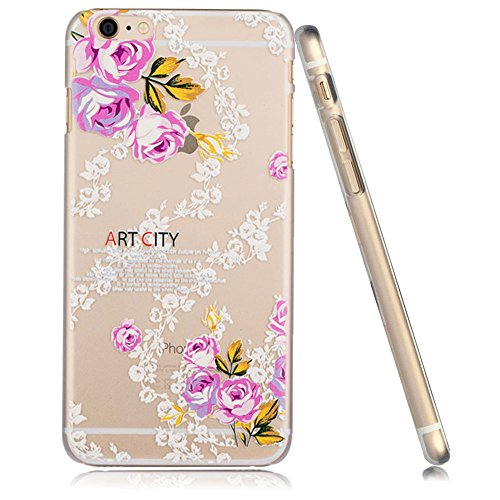 3Cworld iPhone 6s Plus / 6 Plus Case Clear Matte Back Cover Hardshell with Relief Design [5.5'' Hard Plastic] - Retail Packaging - 21 Patterns (flower-white)