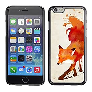 Design for Girls Plastic Cover Case FOR iPhone 6 Fox Red White Watercolor Painting Art OBBA