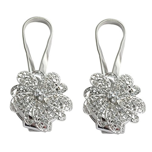 Kisstaker Magnetic Tieback, Crystal Curtain Holdbacks Blossom Diamond Clips with Stretchy Wire Rope for Home Office Decoration,Silver (Pack of 2) - Magnetic Crystal