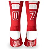 Custom Team Number Crew Socks | Athletic Socks by ChalkTalkSPORTS | Red | 07