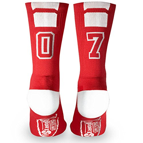 Custom Team Number Crew Socks | Athletic Socks by ChalkTalkSPORTS | Red | - Cotton Custom Socks