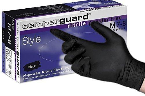Box 180 - SemperGuard BLACK Nitrile Gloves, EXTRA LARGE - Powder Free