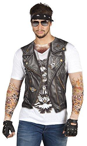Fotorealistisches T-Shirt - Biker - Herren-Kostüm Junggesellenabschied Rocker, Größe:XL