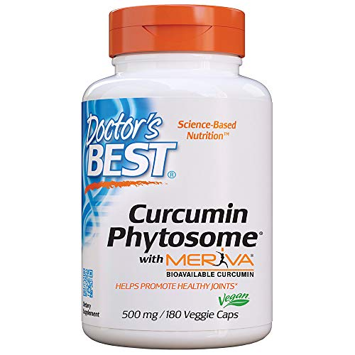 Doctor's Best Curcumin Phytosome with Meriva, Non-GMO, Vegan, Gluten Free, Soy Free, Joint Support, 500 mg 180 Veggie Caps (Doctor's Best High Absorption Curcumin)