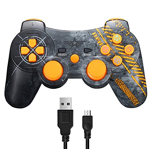 Wireless Controller for PS3, Dual Vibration Sixaxis Game Remote Control Customized Gamepad for Sony Playstation 3 PS3, Charge Cable Included - Warfare Edition