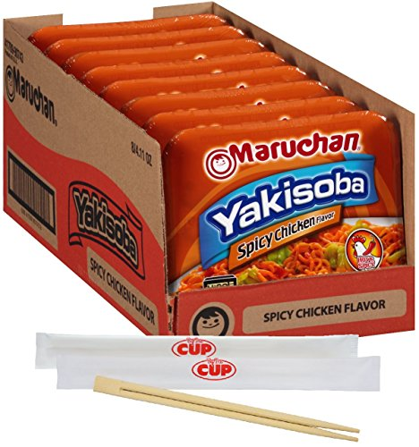 By The Cup Chopsticks and Soup Bundle - Maruchan Yakisoba Spicy Chicken Flavor 4.11 Ounce Single Serving Home-style Japanese Noodles - (Pack of 8)