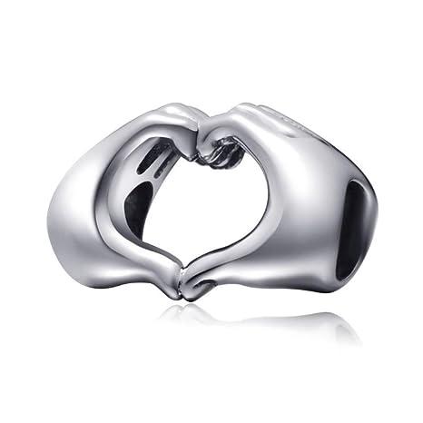 f77c79925e4825 Charm in argento sterling 925, a forma di mani che creano un cuore, simbolo