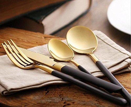Black Dessert Knife (48 Pieces Stainless Steel Flatware Set Knife Fork Dinner Soup Spoon Dessert Tea Server for Home Kitchen Restaurant Hotel ( Black +)