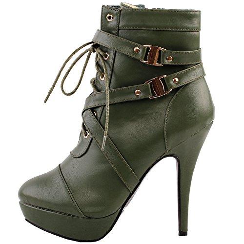 Bootie Green Ankle High Heel Punk Strap Army Buckle Stiletto Platform Story LF30470 Show w7qz6xS47
