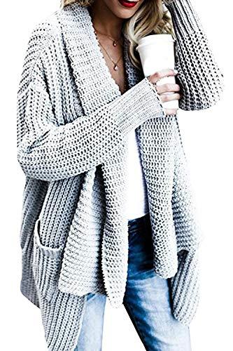 Fasumava Pulls Cardigan Grey en des avec des des d'hiver Ample Poches Manteaux HwBxHCAq
