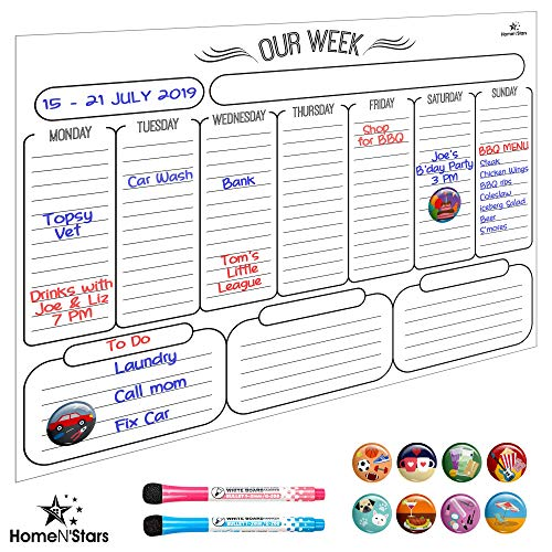 - Weekly Dry Erase Board Calendar- Magnetic Weekly Calendar for Refrigerator Stain Resistant Nano Technology. Free 2 Fine Point Magnetic Markers with Eraser, 10 Magnetic Icons White 16 inch X 12 inch