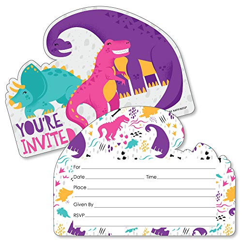 Roar Dinosaur Girl - Shaped Fill-in Invitations - Dino Mite T-Rex Baby Shower or Birthday Party Invitation Cards with Envelopes - Set of 12